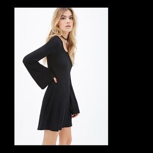 Forever 21 Black Bell Sleeve Dress